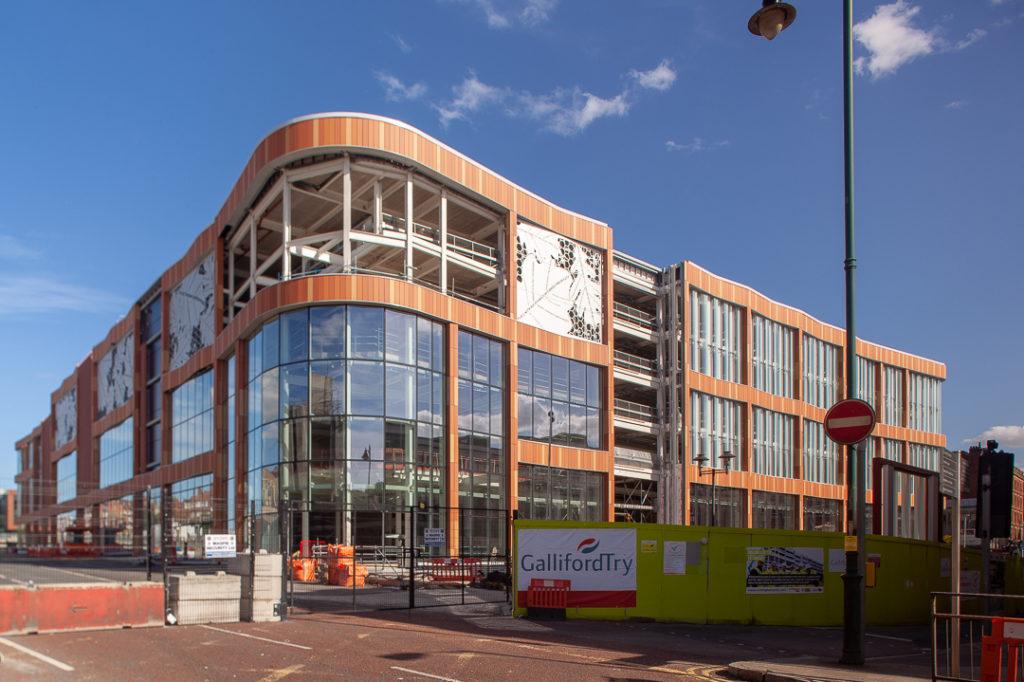 The Broadmarsh multi storey carpark, bus station and library taking shape